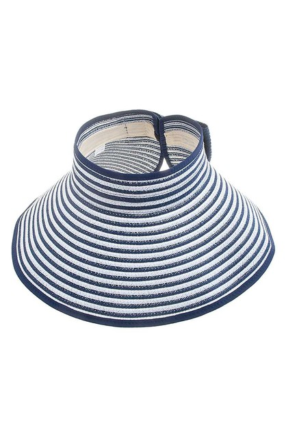 CHIC FASHION STRIPE BOW VISOR SUN HA - orangeshine.com