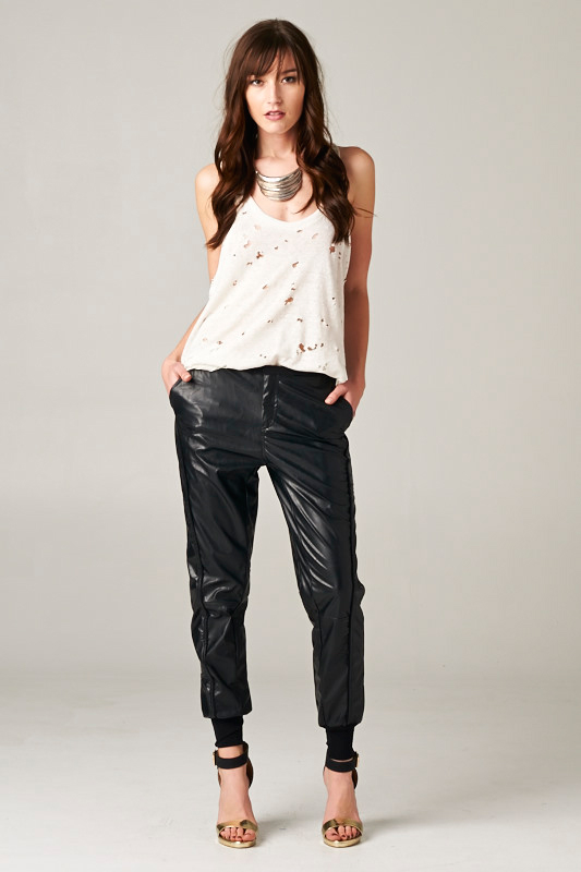 Pleatherette Cuff Pants - orangeshine.com
